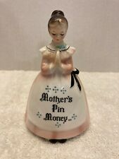 "RARE Vintage Enesco PINK Prayer Lady ""MOTHERS PIN MONEY"" BANK"