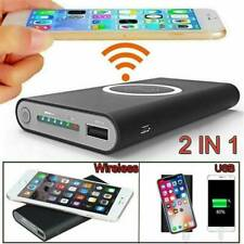 900000mAh Power Bank Qi 2in1 Wireless Charging USB Portable Battery Charger Case