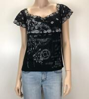 VERTICE NZ Black and Grey Lace and T-shirt Top Blouse Sz 16  #3344