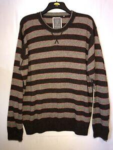 WOLSEY Men's Size XXL 2XL Wool Blend Striped Jumper Pullover Brown VGC