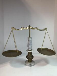 Vintage Brass Balance Scale With Marble Base