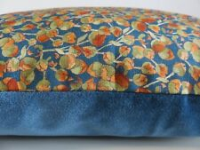 Liberty Eliza Cotton Paprika Ditsy Floral & Blue Velvet Fabric Cushion Cover