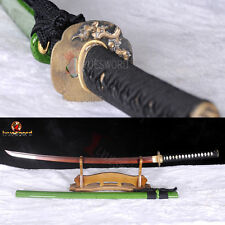 Red Damascus Steel Katana Japanese Sword Clay Tempered Full Tang Razor Sharp