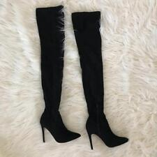 ASOS Black Pointy Zara Over The Knee Faux Suede Leather XL Thigh High Boots 7