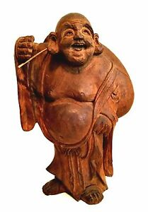 Buddah Statue Wooden Hand Carved Big Bag of Fortune Lucky Happy Figurine 12 inch