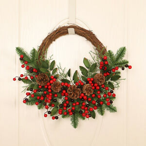 Christmas Rattan Wreath Garland Pine Branches Red Berries Pine Cones Tree Home