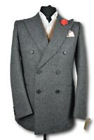 Tweed Country Blazer Jacket - ITALIAN TAILORED WOOL - 36R - DOUBLE BREASTED 931