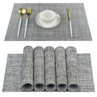 Set of 6 PVC Dining Room Weave Woven Placemats Table Heat Insulation Place Mats