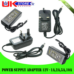 12V 1A/2A/5A/10A AC DC POWER SUPPLY ADAPTER MAINS LED STRIP TRANSFORMER CHARGER
