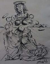 Surrealist Unique, ink drawing, signed, Salvador Dali, w COA & DOCS