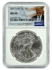 2017 1oz Silver American Eagle Ngc Ms69 - Trump Label