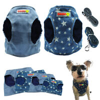 Small Dog Harness and Lead Denin Clothes Pet Puppy Cat Vest French Bulldog Pug