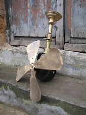 """Antique french industrial 16"""" brass 4 blades ceiling fan Vintage 1900s"""