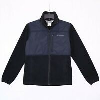 Columbia Black Full Zip Jacket Youth Size 14 16 Fleece Nylon Zippered Pockets