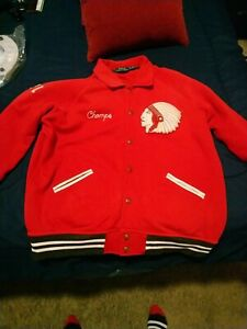 Polo Ralph Lauren NY Football Jacket Varisity Red Indian XXL