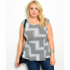 Plus Size Polyester Geometric Sleeveless Tops & Blouses for Women