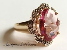 Vintage 14ct Gold Pink Stone & Diamond  ring Full Hallmark 585 14k