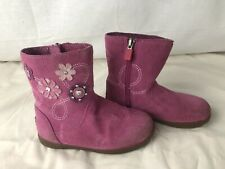 UGG baby Size 9 Pink Suede Uggs, Boots with Purple & White Embroidered Flowers