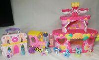 My Little Pony Mini Figures 8 Miniature Ponies  Lot - 2 Houses + My Pony Train