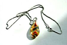 """& Studio Glass Pendant 18"""" Necklace Vintage Sterling Silver Box Link Chain"""