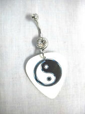 Guitar Pick 14g Clear Cz Belly Ring Barbell New White w Black Yin & Yang Printed