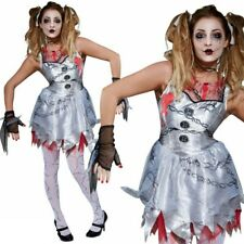 Deathly Doll Costume Ladies Broken Doll Zombie Halloween Fancy Dress Outfit