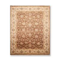 "8'9"" x 11'10"" Hand Knotted Wool Agra 200 KPSI Oriental Area Rug Brown"