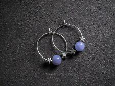 Natural Stone Bead Hoop Earrings Silver Hoop Semi Precious Stone Bead Hoop Gift