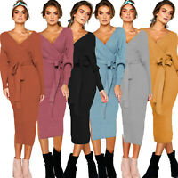 Women's Knitted Long Sleeve Wrap Pencil Bodycon Midi Dress Party V Neck Sweater