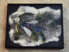 mixed media art, acrylic,hand painted feather,Native American,prayer fan