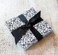 """96 Black & White pre cut charm pack 5"""" squares 100% cotton fabric quilt"""