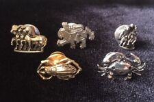 Set of 5 Vintage Tie Tack Lapel Pins Crab Beetle Horses