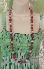 Cat Eye Beads, & Gold Beads - Monet Necklace with Two Styles of Red Beads, White