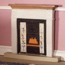FIREPLACE FOR DOLLS HOUSE 1;12TH SCALE.VICTORIAN STYLE WITH FLORAL TILE EFFECT