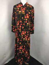 Vtg 70s Floral Roses Asymmetrical Button Nightgown House Coat Robe Muumuu S/M