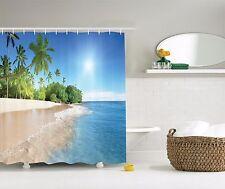 Tropical Paradise Palm Trees Graphic Shower Curtain Sandy Beach Bath Curtain