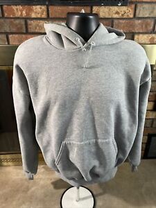 Vintage Grey Jerzees Hooded Hoodie Pullover Sweatshirt Mens XL Blank Gym Workout