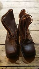 More details for vintage cold war swedish leather m59 brown square toe boots 1970s dated size 43