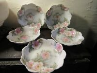 5 Antique Rosenthal Dessert Bowls, Pink & Yellow Roses, Malmaison Bavaria