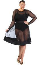 Plus Size Long Sleeve All Mesh Flared Skater Dress Black (1X, 2X, 3X)