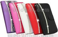Luxury Bling Diamond Leather Case Magnetic Flip Wallet Cover For iPhone 5 6 Plus