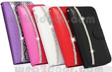 Lujo Bling Diamante Cuero Estuche Magnético Abatible Billetera Cubierta para iPhone 5 6 Plus