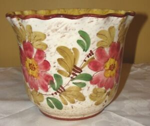 PLANT/FLOWER POT:  Made in Italy Handpainted Floral Planter # 532