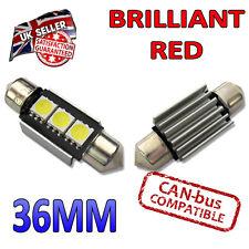 2 X 36mm Rojo Canbus LED Festoon Interior Placa luces brillantes bombillas C5W 3 SMD