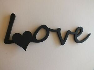 Black Wooden Love Wall Sign With Heart  30cm long