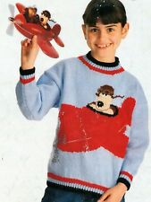 #295 Boys & Girls Charted Gromit DK Sweater 6-13yrs  Vintage Knitting Pattern