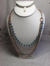 Avon 2013 Sparkling Metallic Acrylic Bead Multi Strand Gold Tone Necklace NOS