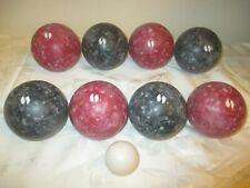Sportcraft Complete Set Of 9 Vintage Black & Red & White Bocce Balls