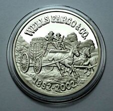 Rare WELLS FARGO 150th ANN. 1852-2002 1 Troy oz.999 Silver PROOF Round Coin