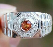 Men's Genuine Orange Sapphire & White Topaz Ring 100% Solid 925SS Size 9 1/2